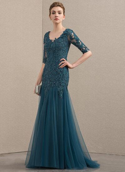 Trompete/Meerjungfrau-Linie V-Ausschnitt Sweep/Pinsel zug Tüll Spitze Kleid für die Brautmutter mit Perlstickerei Pailletten