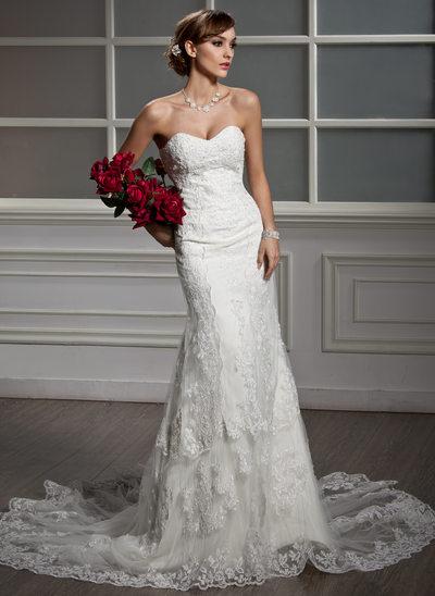 Trompete/Sereia Amada Cauda longa Tule Renda Vestido de noiva com Beading
