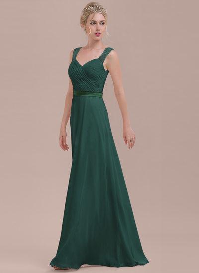 A-linjainen/Prinsessa Kultaseni Lattiaa hipova pituus Sifonki Morsiusneitojen mekko jossa Rypytys
