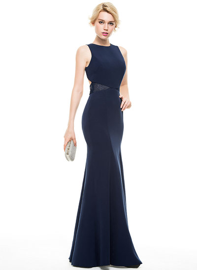 Trumpet/Mermaid Scoop Neck Floor-Length Satin Evening Dress With Lace