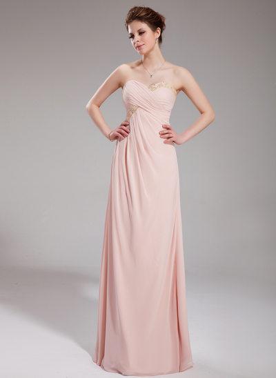 Empire Sweetheart Floor-Length Chiffon Holiday Dress With Ruffle Beading