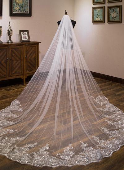 Uma camada Borda com aplicação de renda Catedral véus de noivas com Renda