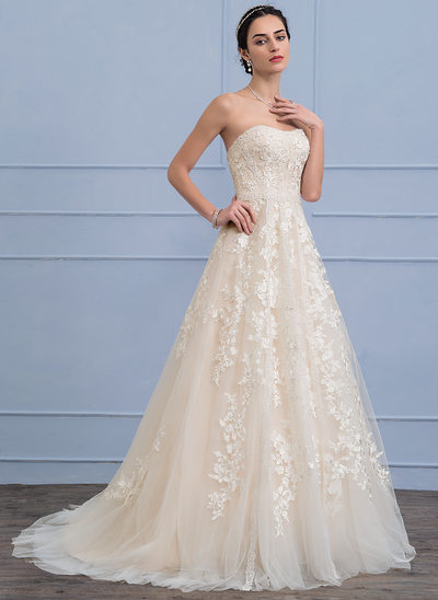 6bdd571618 A-Line Princess Sweetheart Sweep Train Tulle Lace Wedding Dress With  Beading Sequins