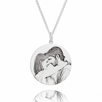 Custom Sterling Silver Engraving/Engraved Circle Black And White Circle Necklace Photo Necklace - Birthday Gifts