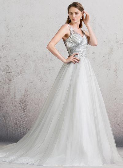 Balklänning V-ringning Domkyrkan Tåg Tyll Bröllopsklänning med Rufsar Spets
