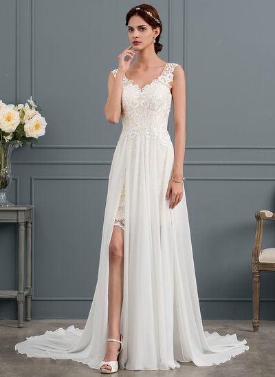 A-Line V-neck Court Train Chiffon Wedding Dress With Split Front