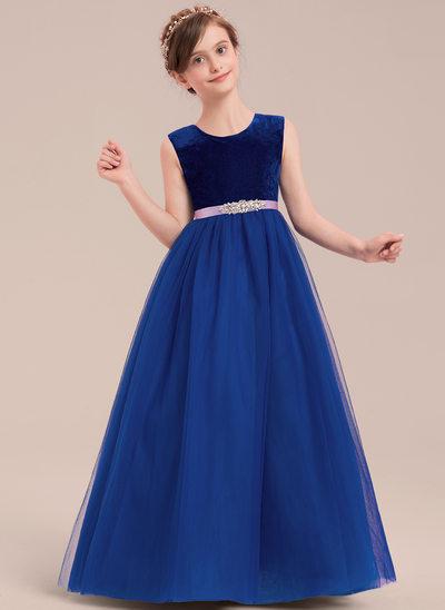 Ball Gown Floor-length Flower Girl Dress - Tulle Sleeveless Scoop Neck With Rhinestone