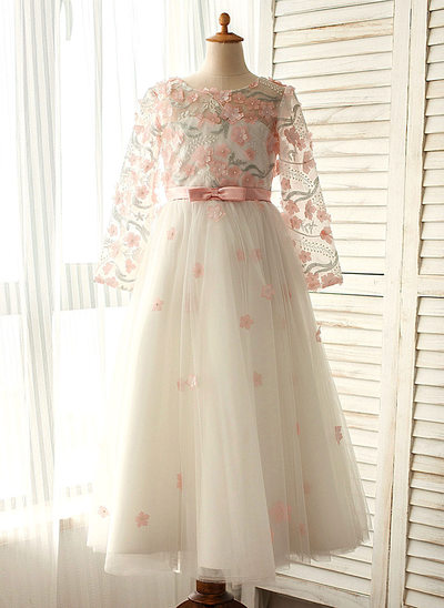 A-Line/Princess Floor-length Flower Girl Dress - Satin/Tulle Long Sleeves Scoop Neck With Beading/Appliques/Bow(s)