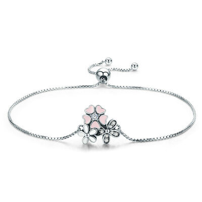 Platinum Plated Link & Chain Bridal Bracelets Bolo Bracelets With Flower - Valentines Gifts For Her