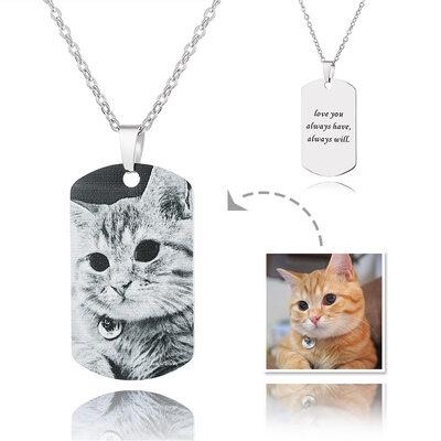Gepersonaliseerde zilver Graveren / Gegraveerde Label Zwart En Wit Foto Ketting - Moederdag Cadeaus