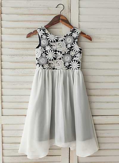 A-Line/Princess Knee-length Flower Girl Dress - Chiffon/Lace Sleeveless Scoop Neck With Ruffles