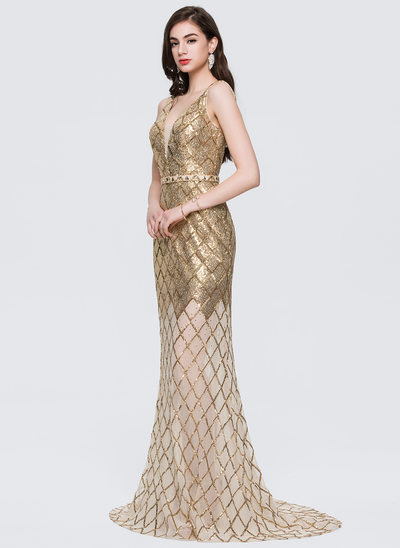 Trumpet/Mermaid V-neck Sweep Train Sequined Evening Dress With Sash Beading