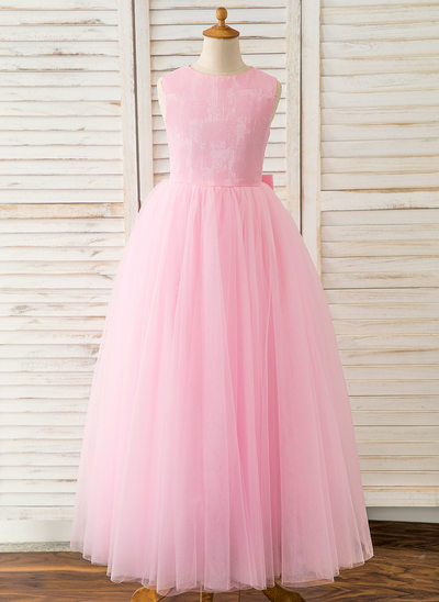 A-Line Floor-length Flower Girl Dress - Tulle Sleeveless Scoop Neck With Bow(s)