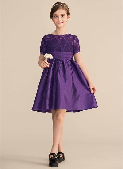 A-Linie/Princess-Linie U-Ausschnitt Knielang Taft Spitze Kleid für junge Brautjungfern mit Rüschen