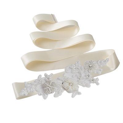 Elegant Satin Sash With Rhinestones/Imitation Pearls