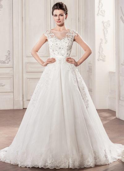 Duchesse-Linie U-Ausschnitt Kapelle-schleppe Tüll Brautkleid mit Perlen verziert Applikationen Spitze Pailletten Schleife(n)