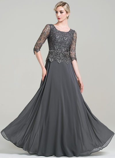 f55f6805a A-Line/Princess Scoop Neck Floor-Length Chiffon Mother of the Bride Dress