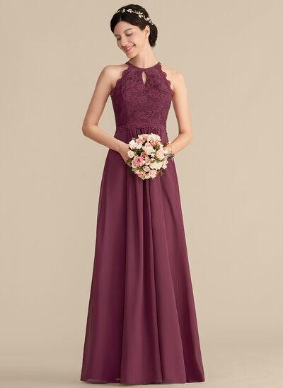 Vestidos princesa/ Formato A Decote redondo Longos Tecido de seda Renda Vestido de baile