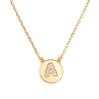Christmas Gifts For Her - Custom 18k Gold Plated Silver Initial Initial Necklace Circle Necklace