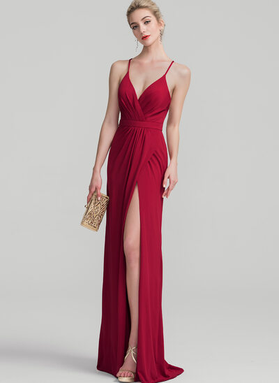 Sheath/Column V-neck Floor-Length Jersey Evening Dress With Ruffle