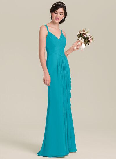 A-Line/Princess Sweetheart Floor-Length Chiffon Bridesmaid Dress With Cascading Ruffles