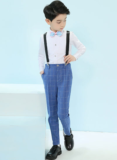 gutter 4 stykker Plaid Suits til ringbærere /Side Boy Suits med Skjorte Bukser sløyfe Suspender