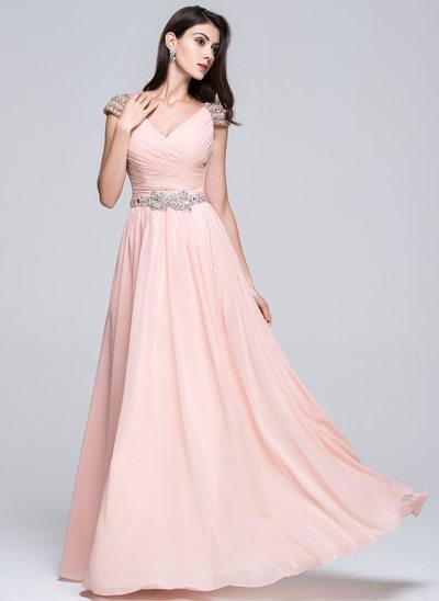 Vestidos princesa/ Formato A Decote V Longos Tecido de seda Vestido de baile com Pregueado Beading lantejoulas