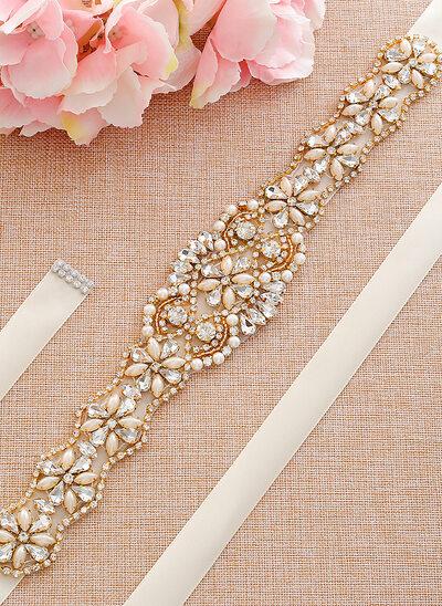 Stylish Satin Sash With Rhinestones/Imitation Pearls