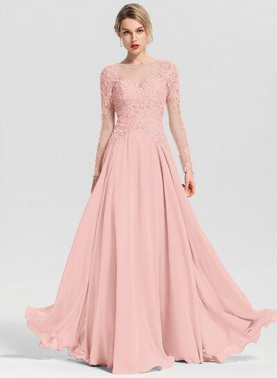 Çan Yuvarlak Yaka Uzun Etekli Şifon Mezuniyet Elbisesi Ile boncuklu kısım Payetler