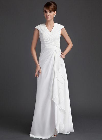 A-Line/Princess V-neck Floor-Length Chiffon Mother of the Bride Dress With Ruffle Cascading Ruffles