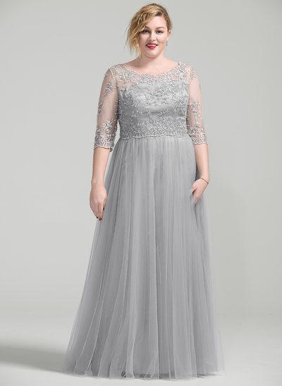 A-Linie/Princess-Linie U-Ausschnitt Bodenlang Kleid für die Brautmutter mit Perlstickerei Applikationen Spitze Pailletten