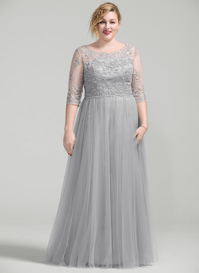 A-formet/Prinsesse Scoop Hals Gulvlengde Kjole til brudens mor med Profilering Applikasjoner Blonder paljetter