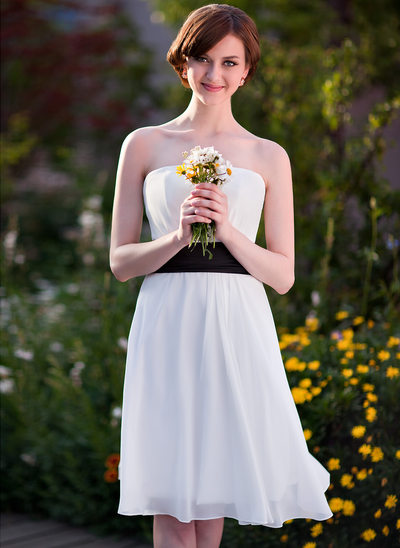 Empire Strapless Knee-Length Chiffon Bridesmaid Dress With Sash