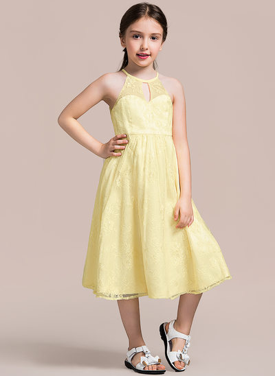 A-Line/Princess Scoop Neck Tea-Length Lace Junior Bridesmaid Dress