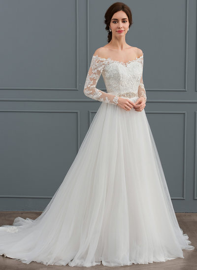 A-Line/Princess Off-the-Shoulder Court Train Tulle Wedding Dress With Beading