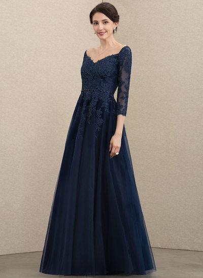 A-Linie V-Ausschnitt Bodenlang Tüll Spitze Kleid für die Brautmutter mit Perlstickerei Pailletten
