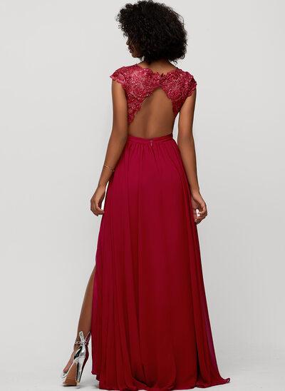 A-Linie V-Ausschnitt Bodenlang Chiffon Abendkleid mit Pailletten Schlitz Vorn