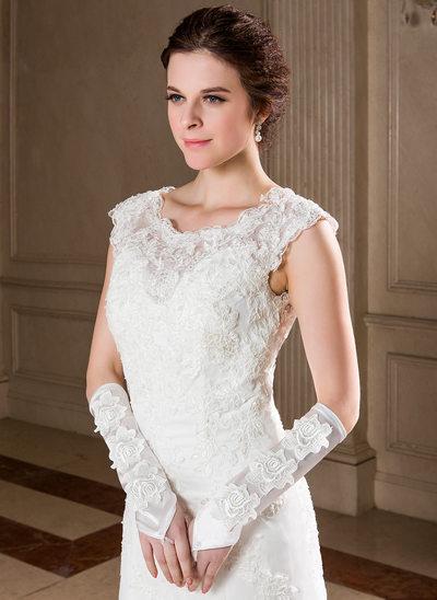 Elastic Satin Elbow Length Bridal Gloves