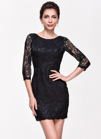 Forme Fourreau Col rond Court/Mini Dentelle Robe de cocktail