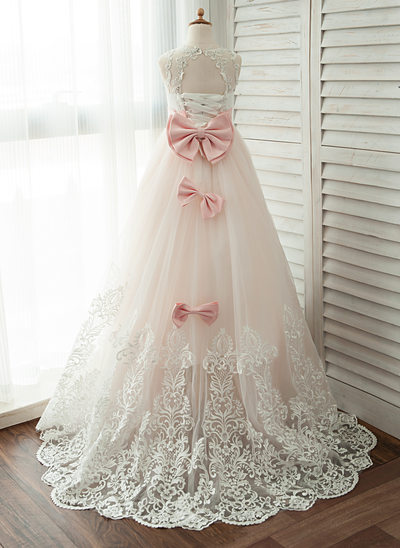 Ball Gown Chapel Train Flower Girl Dress - Satin/Tulle/Lace Sleeveless Scoop Neck With Lace/Beading/Bow(s)