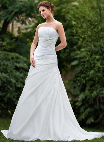 A-linjeformat Axelbandslös Court släp Taft Bröllopsklänning med Rufsar Rosett/-er