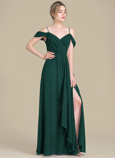 A-Line/Princess V-neck Floor-Length Chiffon Bridesmaid Dress With Bow(s) Split Front Cascading Ruffles