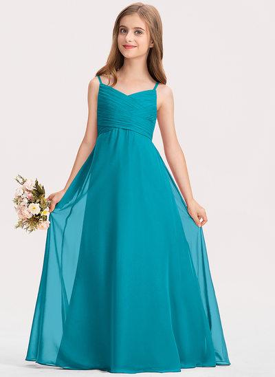 Corte A Amada Longos Tecido de seda Vestido de daminha júnior com Pregueado