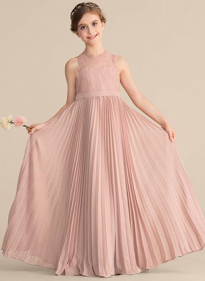 A-Linie/Princess-Linie U-Ausschnitt Bodenlang Chiffon Spitze Kleid für junge Brautjungfern mit Gefaltet