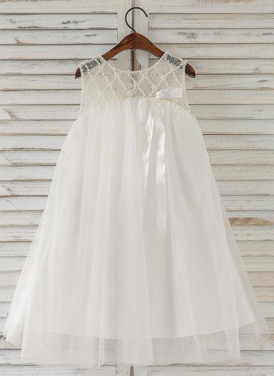Forme Princesse Longueur genou Robes à Fleurs pour Filles - Tulle Sans manches Col rond avec Brodé
