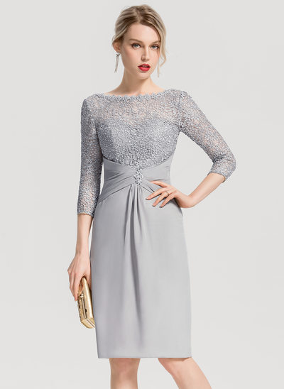Sheath/Column Scoop Neck Knee-Length Chiffon Cocktail Dress With Ruffle Beading