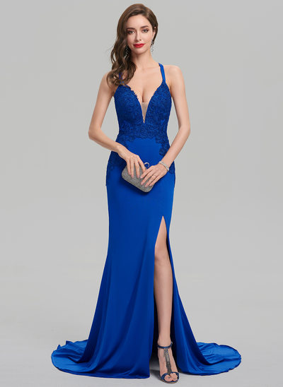 Sheath/Column V-neck Sweep Train Jersey Prom Dresses With Split Front