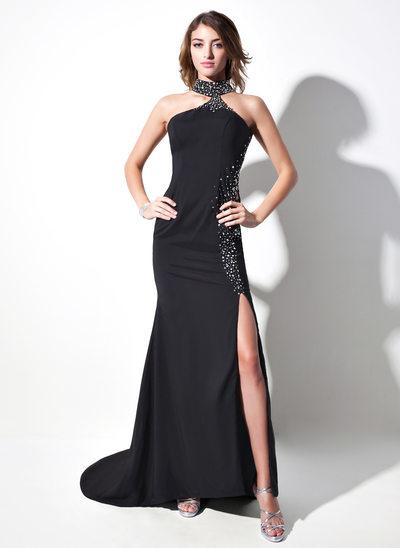 Trumpet/Mermaid Halter Sweep Train Satin Chiffon Prom Dress With Beading Split Front