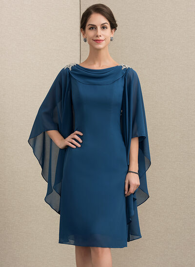 Sheath/Column Cowl Neck Knee-Length Chiffon Cocktail Dress With Beading