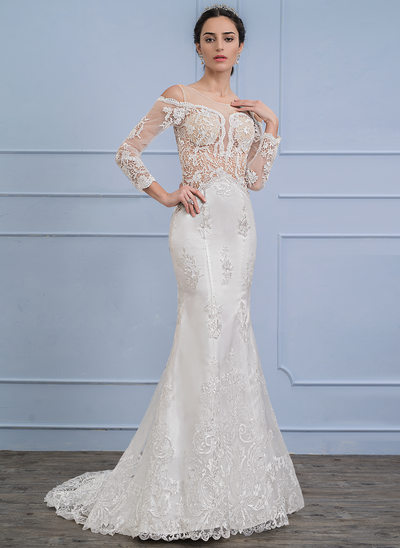 Trumpet/Mermaid Scoop Neck Sweep Train Satin Lace Wedding Dress